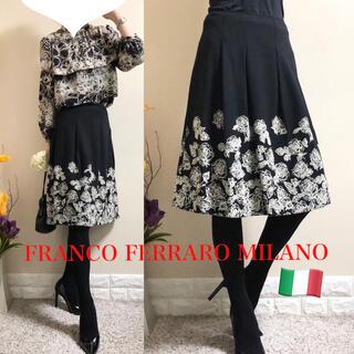 FRANCO FERRARO - フランコフェラーロ ミラノ 定価2.9万円 ローズ ウールスカート SM 黒