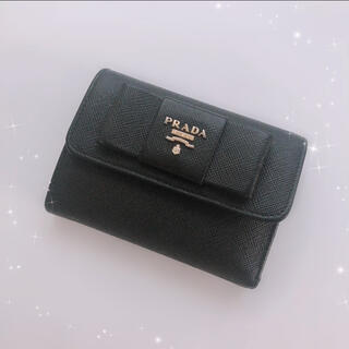 PRADA - PRADA プラダ 財布 フィオッコ リボン サフィアーノ ブラック コンパクト