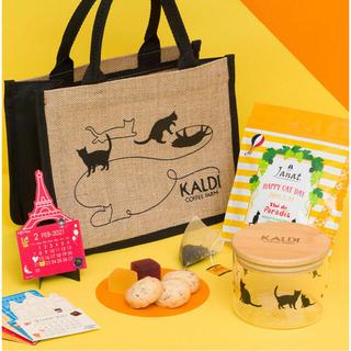 カルディ(KALDI)のラスト!プレゼント付き! KALDI  ネコの日バッグ ※抜けなし(トートバッグ)