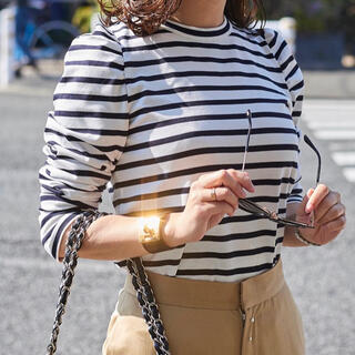 ドゥロワー(Drawer)の■美品■OBLI(オブリ)ボーダーカットソー♥完売品♥(Tシャツ/カットソー(七分/長袖))