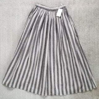 SM2 - 【新品】SM2 サマンサモスモスストライプ麻綿ギャザースカート