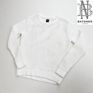 ヤエカ(YAECA)のBATONER 透かし編みコットンニットクルーネックセーター ホワイト サイズ1(ニット/セーター)