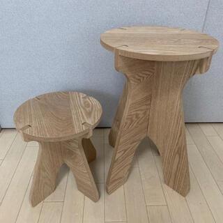 スツール ジャグ台 木製 チェア 椅子 キャンプ テーブル 大小サイズセット(スツール)