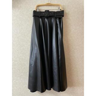 ZARA - ZARAザラ フェイクレザースカート ベルト付きフレアスカート ロングスカート