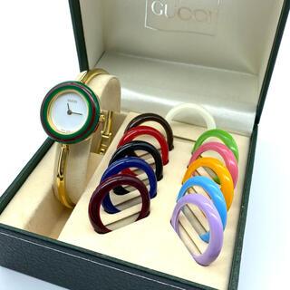 グッチ(Gucci)のvon10様専用です 良品☆GUCCIチェンジベゼル 新品電池 腕時計 Mサイズ(腕時計)