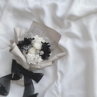モノトーン ドライフラワー ラッピングブーケ 花束 ブーケ ギフト ホワイトデー(ドライフラワー)