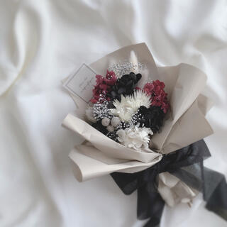 大人シック ドライフラワー ラッピングブーケ 花束 ブーケ ギフト ホワイトデー(ドライフラワー)