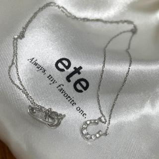 ete - 美品 ete ホースシューネックレス K10WG ダイヤモンド