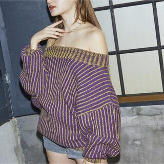 juemi ジュエミ Poison Color Knit パープル イエロー(ニット/セーター)