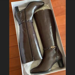 サヴァサヴァ(cavacava)の新品✨24.5cm サヴァサヴァ ヒール ロングブーツ グレー(ブーツ)