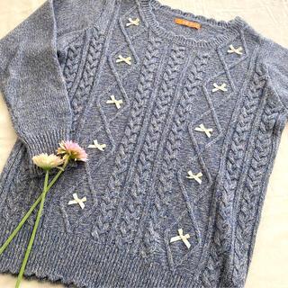 フィント(F i.n.t)のF i.n.t  リボン セーター スカラップ サイズF ブルー(ニット/セーター)