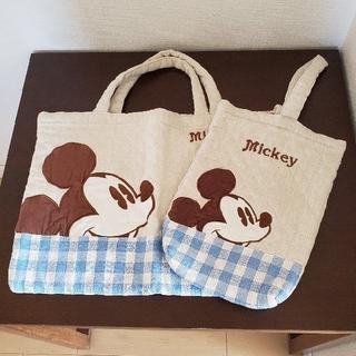 ディズニー(Disney)の手提げ袋&上履き袋セット(ミッキー)(バッグ/レッスンバッグ)