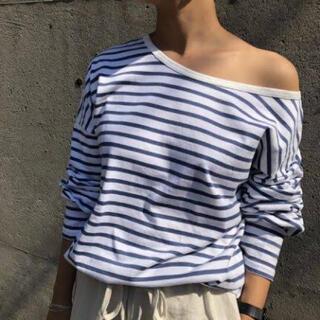 トゥデイフル(TODAYFUL)のOneshoulder Border Tee  ブルー(Tシャツ/カットソー(七分/長袖))