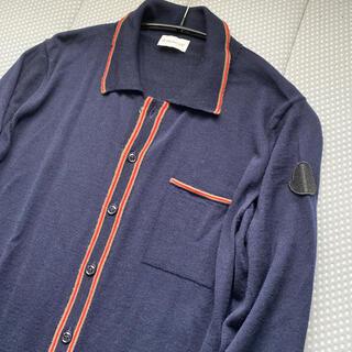 モンクレール(MONCLER)の美品(*・ω・*)モンクレールニットトップスカーデ メンズ用 濃紺(カーディガン)