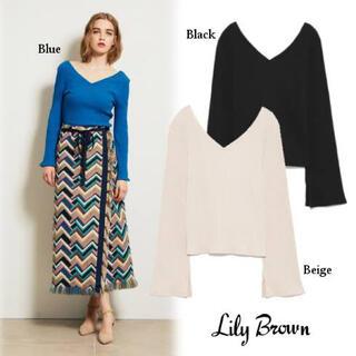Lily Brown - リリーブラウン リボンリブトップス