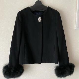 ジャスグリッティー(JUSGLITTY)の2WAYファー付ショートコート ブラック サイズ2(毛皮/ファーコート)