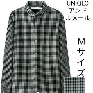 UNIQLO - 春夏用 UNIQLOアンドルメールチェクシャツ Mサイズ ダークグリーン