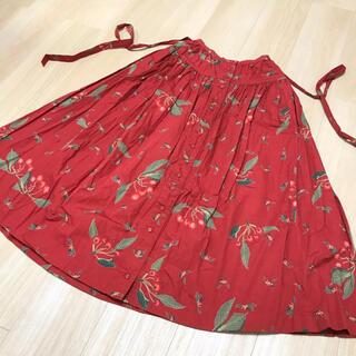 PINK HOUSE - ピンクハウス チェリー柄スカート  赤色