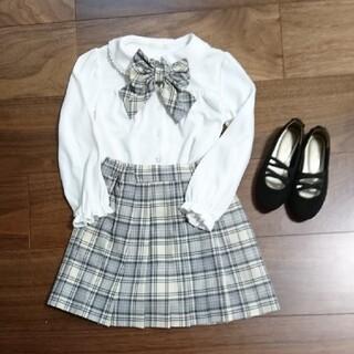 ジーユー(GU)の入園式フォーマルGU リボン ブラウス スカート シューズセット (ドレス/フォーマル)