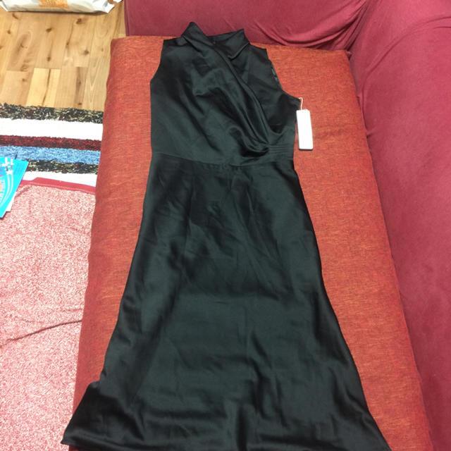 黒 ワンピース フォーマル 結婚式 ドレス 新品 セミロング レディースのフォーマル/ドレス(ミディアムドレス)の商品写真