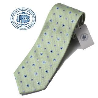 ジェイプレス(J.PRESS)の《ジェイプレス》新品 英国製生地 シルク100% 小紋柄ネクタイ 緑 プレゼント(ネクタイ)