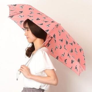 ポールアンドジョー(PAUL & JOE)の☆極美品☆PAUL & JOE☆ネコ柄折りたたみ傘(コーラルピンク)(傘)