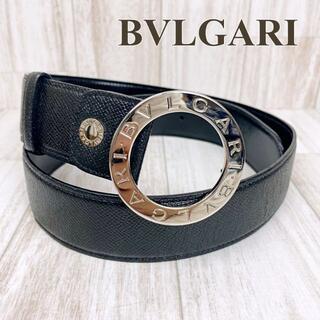 ブルガリ(BVLGARI)のブルガリ ベルト ロゴサークル ブラック×シルバー 105/42 レザー(ベルト)