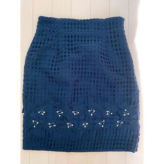 ミーア(MIIA)の※値下げ【MIIA/ミーア】美品 ネイビー パール スカート(ひざ丈スカート)
