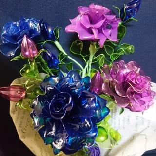 ディップアートフラワー  アメリカンフラワー 青薔薇&紫薔薇(その他)