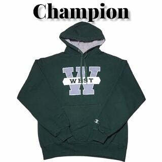 Champion - Championビッグプリントカレッジスウェットパーカー緑チャンピオン古着