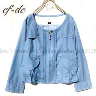 ef-de - リネン ふんわり 可愛い ノーカラージャケット 水色 ブルー コットン 麻 綿