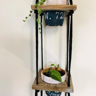 再販♪ wooden plant hanger プラントハンガー+植木鉢(プランター)