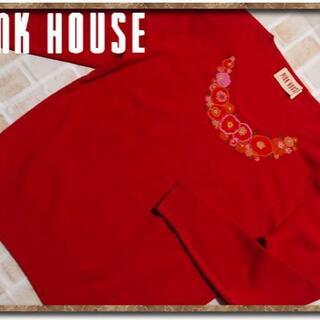 ピンクハウス(PINK HOUSE)のピンクハウス 刺繍入りニット 赤(ニット/セーター)
