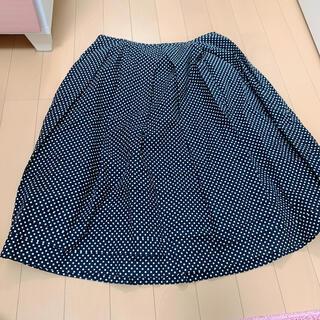 コムサイズム(COMME CA ISM)の77 コムサ COMME CA ISM 水玉 スカート 白黒 フレアスカート(ひざ丈スカート)