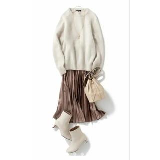 23区 - 23区新品タグ付き サテンプリーツレザーライク スカート