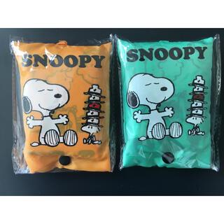 SNOOPY - 限定奉仕新品 スヌーピーポーチ付きエコバック 2個 送料込 オレンジ&グリーン