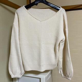 ショコラフィネローブ(chocol raffine robe)の白ニット3点セット(ニット/セーター)