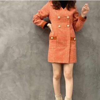 eimy istoire - 新品 eimy カラー ツイード Vネック ワンピース オレンジ EMパール