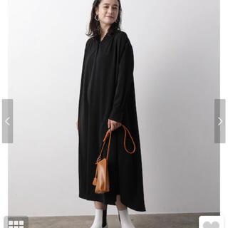 ViS - vis 今期バンドカラーシャツワンピース 黒 未使用新品 春先にも