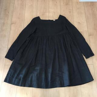 フォグリネンワーク(fog linen work)のAldin linen black dress one-piece(ひざ丈ワンピース)