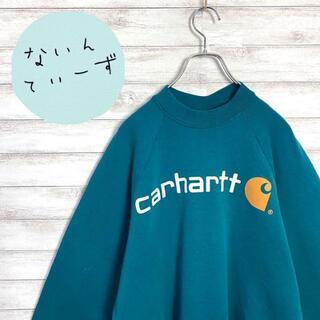 carhartt - 【アースカラー】90s カーハート プリントロゴ グリーン スウェット