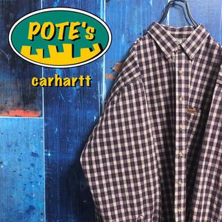 carhartt - 【カーハート】レザーロゴ入りポケットビッグワークチェックシャツ