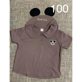 フタフタ(futafuta)の最新作 ☆*:.。futafuta ミッキー襟Tシャツ 濃茶 100  フタフタ(Tシャツ/カットソー)