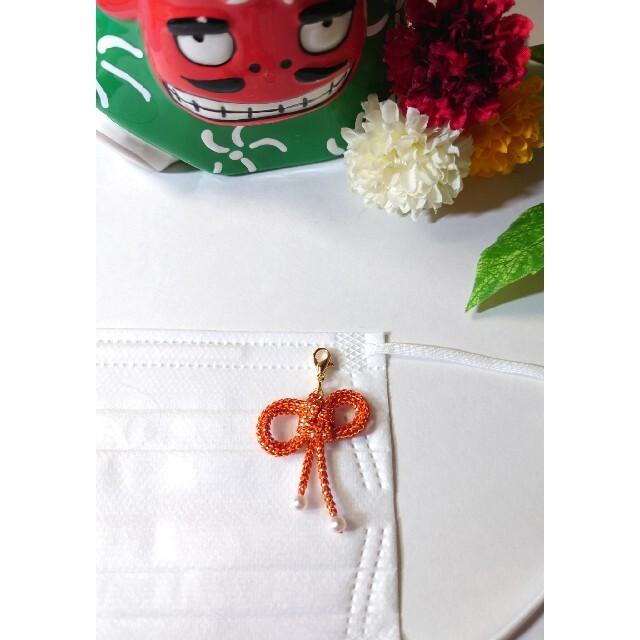 マスクチャーム  祝 梅結び&二重叶結 卒業式 成人式 袴 ハンドメイドのアクセサリー(チャーム)の商品写真