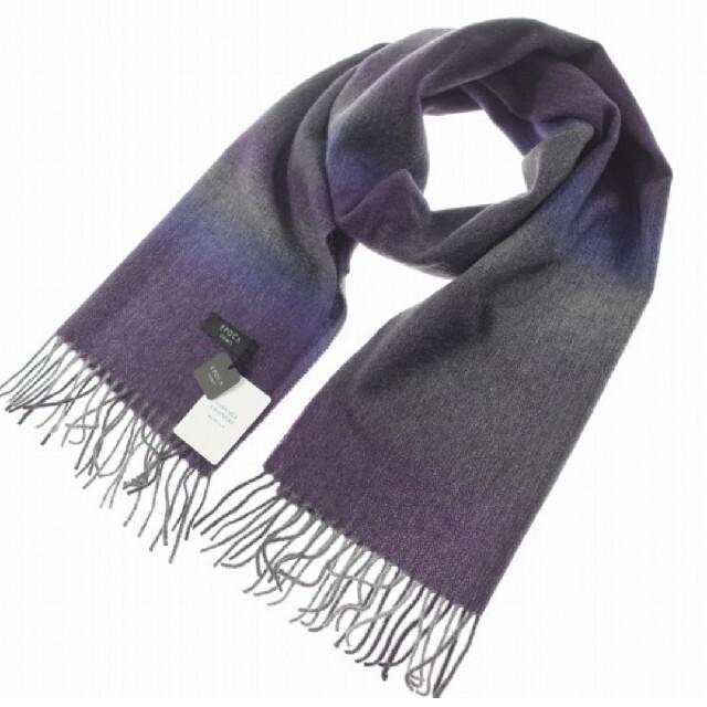 EPOCA(エポカ)の新品 エポカ ウォモ EPOCA UOMO カシミヤ マフラー フリンジ 紫 メンズのファッション小物(マフラー)の商品写真