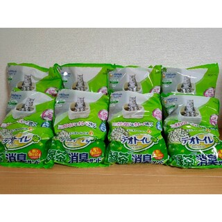 ユニチャーム(Unicharm)の【送料無料】デオトイレ飛び散らない  緑茶成分入り消臭サンド 4L × 8袋(猫)