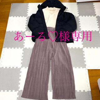 しまむら - ユーデュロイワイドパンツ くすみピンク Mサイズ
