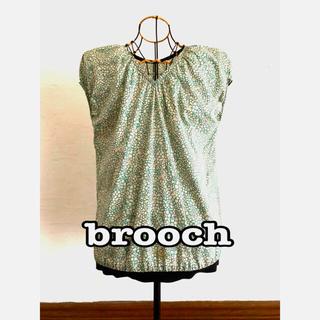 リバティブラウス M&M  brooch m&m リーフフローラル白ブルー(シャツ/ブラウス(半袖/袖なし))