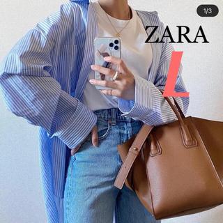 ZARA - 新品未使用 ZARA 春色❁オーバーサイズ ストライプ柄 シャツ L