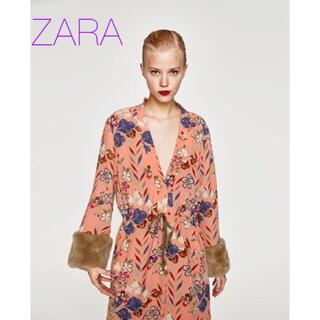 ZARA - sale!新品タグ付☆ZARAザラ☆ファーカフスちりめん織キモノ柄コート